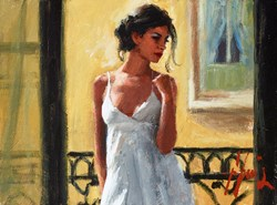 Balcony at Buenos Aires XI (White) by Fabian Perez -  sized 12x9 inches. Available from Whitewall Galleries